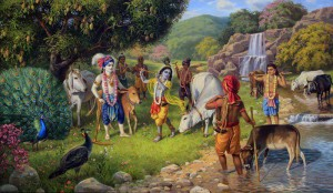 Krishna with balakas and cows in forest