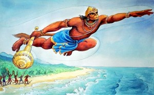 hanuman flies across the ocean